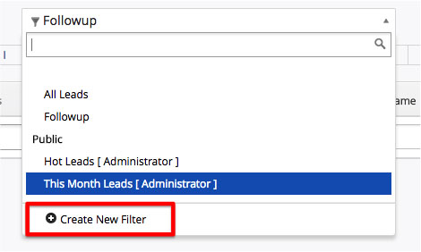 Create New CRM Filter