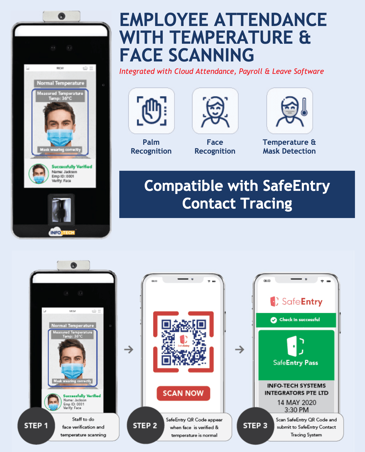 psg temperature taking and face scanning safe entry